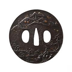 長州萩住職幹作 宮中人風景図鍔 特別保存刀装具