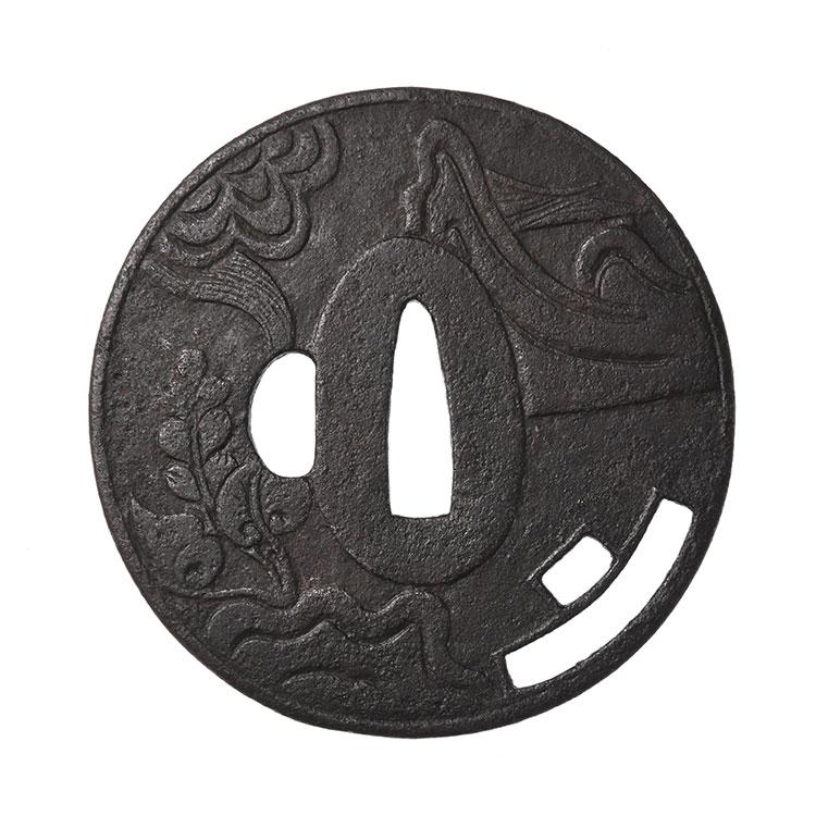 鎌倉 曲角透紋散図鍔 保存刀装具